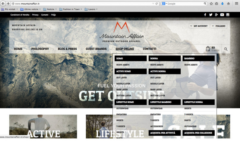 Al via lo shopping online di Mountain Affair