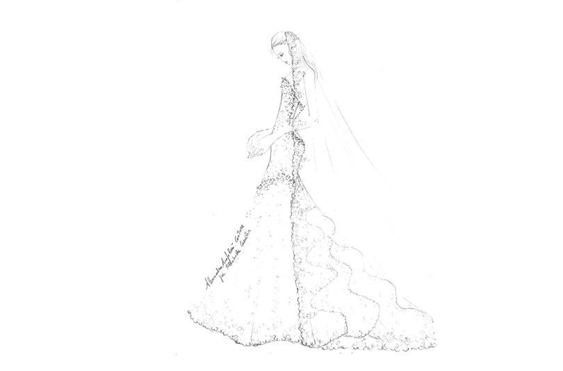 Elisabetta Canalis si sposa e svela in anteprima il bozzetto del suo abito