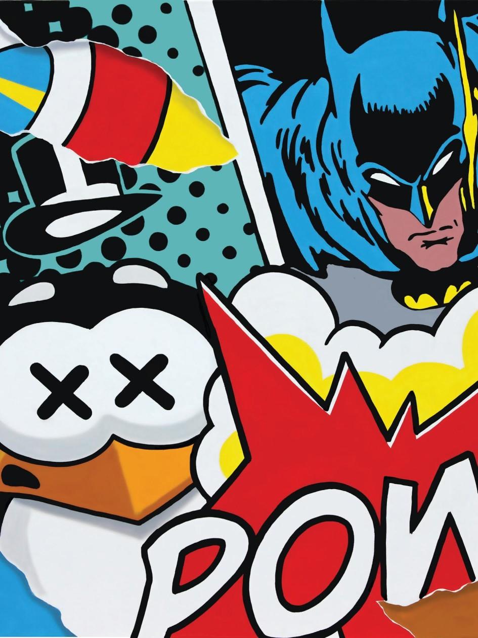 PAO, Batman vs Penguin - 2014, Acrilico su tela 100x100cm