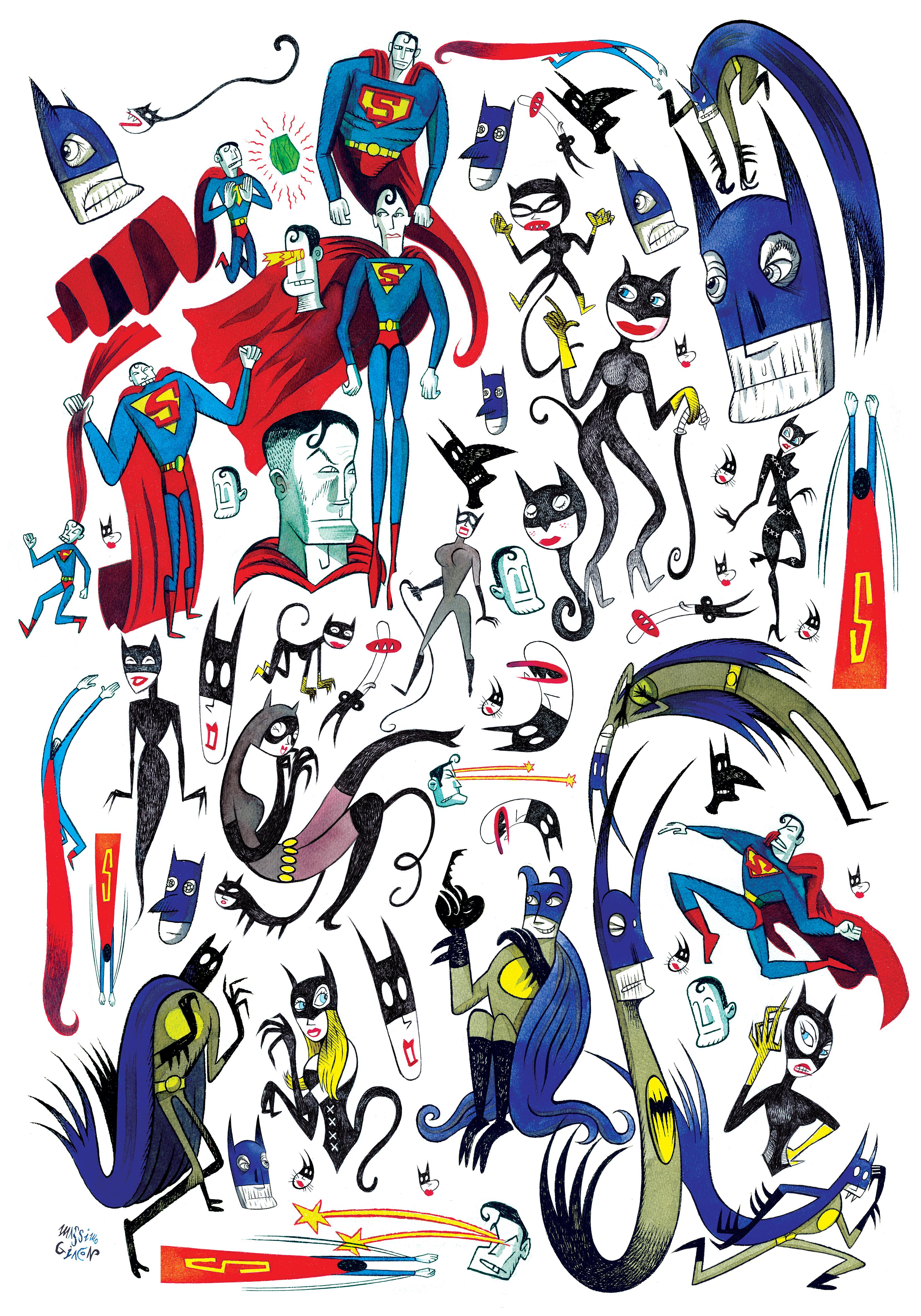 GIACON, Comic Heroes stampa su carta 100x70cm